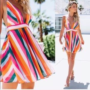 Stripes v neck cocktail casual flare trendy dress